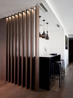40 Modern Living Room Partition Ideas - Not only does it serve to give more space in a crammed up room but glass room divider partition is a perfect decorative element for a living room or a. Wood Partition Design, Living Room Partition Design, Living Room Divider, Partition Ideas, Glass Partition, Glass Room Divider, Diy Room Divider, Room Dividers, Inside Design