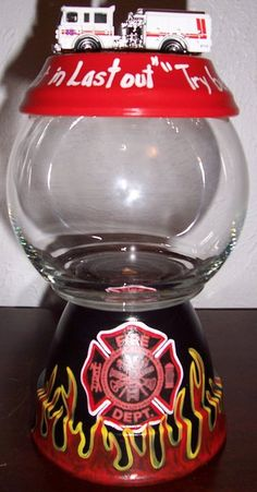 Fireman Themed Candy Jar by punkimunki on Etsy