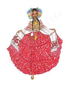 Korean Traditional, Traditional Dresses, Panamanian Women, Korea Dress, West Indian, Caribbean Cruise, Global Art, Panama City Panama, Alberta Canada