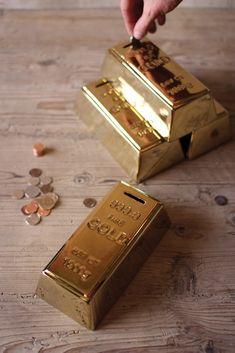 Ceramic Gold Brick Bank. Grown up piggie bank for saving extra coins.