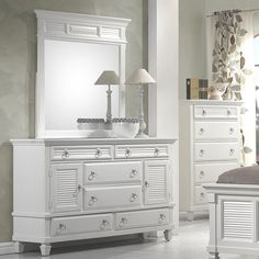 Centreville 6 Drawer Combo Dresser with Mirror