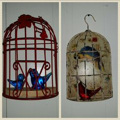 Faux half bird cages to display glass bird collection. Bird Cages, Glass Birds, Reuse, Repurposed, Recycling, Diy Projects, Display, Collection, Home Decor