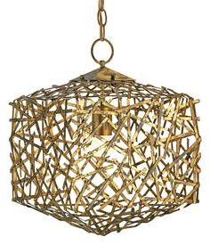Gold Distressed Iron Cube Pendant
