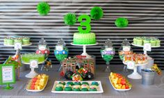 Teenage Mutant Ninja Turtle TMNT Dessert and Candy Bar/ Candy Buffet Design, Styling, Concept and Desserts by Sweet Bits and Pieces. www.sweetbitsandpieces.com.au