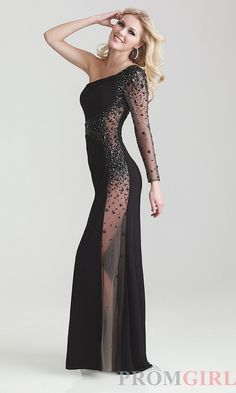 Sexy Black Gowns, Sexy One Shoulder Black Prom Dress- PromGirl