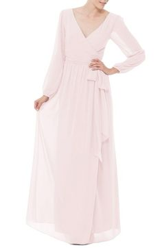 Ceremony by Joanna August 'Holly' Wrap Chiffon Gown available at #Nordstrom