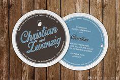 großartige Einladungskarte! Bierdeckel mit tollem Design. • www.vollstark.de