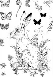 Pink Ink Designs Clear Stamp Set - Meadow x 8 sheet of clear stamps. sizes: Hare in Meadow: x 6 Largest butterfly: x 0 Animal Coloring Pages, Colouring Pages, Lavinia Stamps Cards, Frantic Stamper, Largest Butterfly, Craft Things, Tangle Patterns, Ink Stamps, Animal Cards