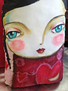 Isabella- art doll cushion - original art by Susana Tavares