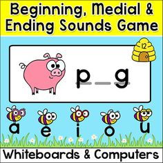 Practice beginning, middle and ending sounds for 120 CVC words with this engaging Busy Bees phonics game for all interactive whiteboards (SMARTBoard, Promethian, Mimio) and computer stations. Ten themes are included to make the game fun for any time of year. The themes are: Sunny Spring Day, Halloween, Thanksgiving, Christmas, Winter, Valentine's Day, St. Patrick's Day, Superhero, Western and Pirate.