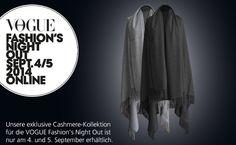 Unsere exklusive Cashmere-Kollektion für die VOGUE Fashion's Night Out ist nur am 4. und 5. September erhältlich. http://store.fraas.com/1255_trends.html