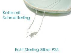 **Schmetterling Kette** Die Kette ist komplett aus Echt Silber 925 (Sterling-Silber) und matt veredelt. Die Halskette ist ca. 41 cm lang, der Schmetterling ca. 13 x 8 mm groß. Durch Rhodinierung...