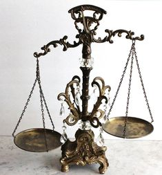 Vintage Brass and Crystal Scale of Justice by vintagequeen.