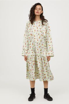 Dress with Drawstrings - Dusky green/floral - Ladies   H&M US 1 - $35