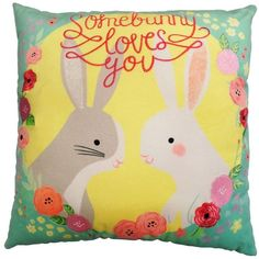 """Celebrate Easter Together """"Somebunny Loves You"""" Throw Pillow,... ($14) ❤ liked on Polyvore featuring home, home decor, throw pillows, patterned throw pillows, bunny home decor, spring throw pillows, easter home decor and easter throw pillows"""