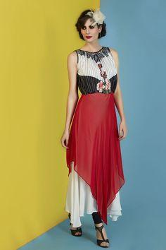 Picture of Modish white & red georgette kurti