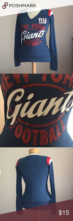 "New York Giants long sleeve top. Size Small🏈 Excellent condition New York Giants long sleeve top. Size Small🏈. 25"" long. Poly/cotton/rayon 🏈 Tops Tees - Long Sleeve"