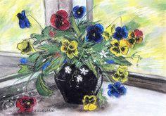 Пастель, 29х41, бумага. Pastel flower eyes on window , 29x41 cm, pastel, paper. #pastel #drawing #живопись #натюрморт