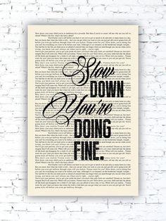 VIENNA Book Page -- Billy Joel Lyrics Poster print, studio wall art, distressed typography print on Etsy, $20.00