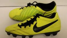 Nike T90 Shoot IV FG Soccer Cleats Volt with Black 472547 703