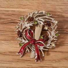 Hair Clip Silver Tone Christmas Barrette by AuntyMyrnesAttic on Etsy