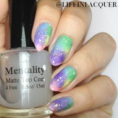 Rainbow Ombre Nail Art inspired by Let Them Have Polish. Easy to do!