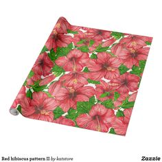 Red hibiscus pattern II Wrapping Paper by katstore | #S6GTP ~ Created by one of my friends at  Zazzle ~