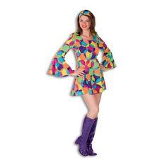 70er 80er Jahre Outfit Kostüm Disco Kleid Damenkleid M, L, XL