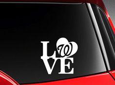 I Love Washington Nationals Baseball Vinyl Car Decal Sticker