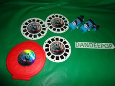 Thomas The Tank Engine Thomas & Friends Two Wind Up Ty Trains AND 3 piece Viewmaster Reels w/ case find me at www.dandeepop.com