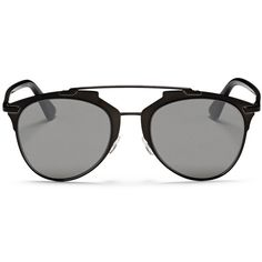 Dior 'Reflected' acetate temple metal veneer aviator sunglasses ($435) ❤ liked on Polyvore featuring accessories, eyewear, sunglasses, glasses, delete, lunettes, black, christian dior, christian dior sunglasses and aviator style sunglasses