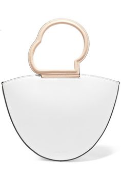 White and beige leather (Calf) Snap-fastening tab at top Weighs approximately 1.1lbs/ 0.5kg Made in Italy