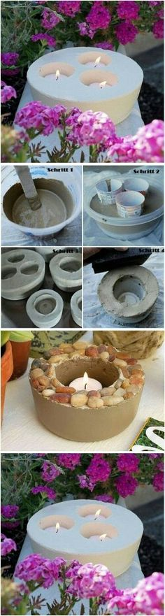 Kreative Deko selber machen - Kerzenhalter - DIY / how to make beautiful candle holders with concrete ♥ Best Picture For diy manualidades Fo - Concrete Crafts, Concrete Planters, Garden Planters, Concrete Candle Holders, Diy Candle Holders, Creation Deco, Beautiful Candles, Diy Candles, Diwali Candles