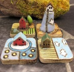 MyLand Cloudy Hill, Summer Heat, Butterfly Wing and Finish Countryside puzzles in stoneware by Szilvia Vihriälä of elukka located in Rauma, Finland.