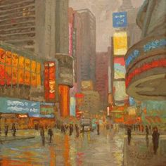 Rainy Morning / Times Square by Robert Longley. #OilonCanvas #CityScape #TimesSquare