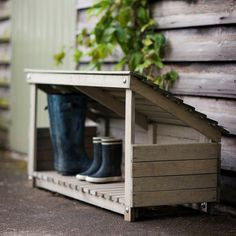 Garden Ideas Wellie Store - Wooden - good idea for back door but make it ourselves? … - Whether or not you have the luxury of a proper garden shed, you can still create a stylish and practical piece of garden storage - as these ideas demonstrate! Boot Storage, Outdoor Storage, Garden Bike Storage, Porch Storage, Outside Storage, Storage Area, Garage Storage, Diy Storage, Garden Cottage
