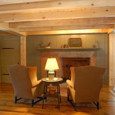 Wide Pine Flooring, Wallboards and Timber Framed Ceiling
