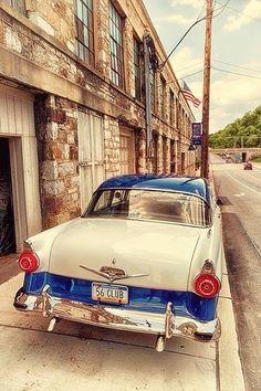 1956 Ford Fairlane 2Dr. Sedan. Blue and White.