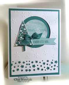 Stampin' Up A Merry Little Wish Card #SU Star Border and Tree punches, Festive Trees