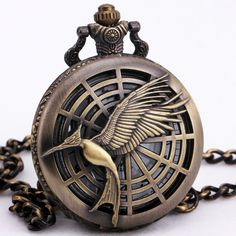 TD Unisex Men Women Luxury Retro Hollow Quartz Pocket Watch Birds Design Carved Lid Pendant Chain + Gift BOX