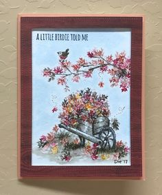 Art Impressions: Watercolor Trio of Trees, branches, leaves, flowers, foliage, wood wheelbarrow, bird