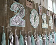 Graduation Party Decoration Ideas - Unique, stylish take on showcasing the graduation year.  Love the glitter with the accent color behind it!  JenTbyDesign.com