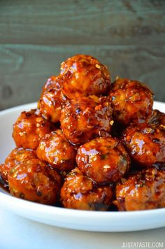 Baked Orange Chicken Meatballs recipe from justataste.com