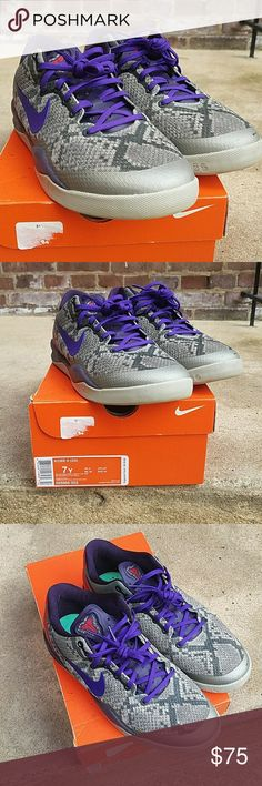 """Kobe 8 """"Mine Grey"""" like new. Grey, purple, and red shoe with snake skin pattern. kids size 7 but they run big. Will fit 8.5 womens. comes with original box. Nike Shoes"""