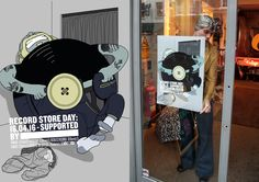 Record Store Day Posters by Senan Lee & Pansy Aung 'Button' Illustrated by Dave Anderson #RSD16 #RSDUK #RecordStoreDay #Soho #London #Vinyl #Illustration #GraphicDesign #Design #Graphic #Advertising #Poster #Campaign #Retro #Vintage #Button #Clothing #Hipster