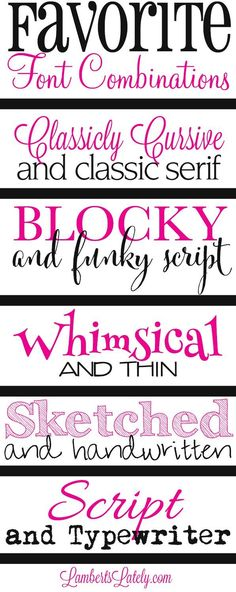 My favorite font combinations for graphics and printables.this is a great list of ways you can combine (mostly free) fonts for effective and beautiful graphics! Fancy Fonts, Cool Fonts, Creative Fonts, Simple Fonts, Great Fonts, Lemy Beauty, Dafont, Friends Font, Digital Foto
