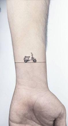 Little Vespa Tattoo InkStyleMag is part of Matching Christian tattoos Website - Made by Ahmet Cambaz Tattoo Artists in Istanbul, Turkey Region Vespa Gts, Piaggio Vespa, Vespa Scooters, Vespa Sprint, Scooter Scooter, Vespa Motorcycle, Vespa Tattoo, Bike Tattoos, Motorcycle Tattoos
