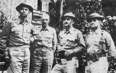 Photo: USAFFE Headquarters on Bataan, February Left to right: Brig. Spencer B. Paul R.This Day in WWII History: Apr Japanese launch major offensive against Bataan - Photo Bataan Death March, Ww2 Photos, World War Two, Wwii, Vintage Photos, Wings, Product Launch, Japanese, Book Illustrations