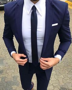 Navy Blue Groomsmen Wedding Suit two Pieces (jacket +pants) - Mens wedding suits - Best Wedding Suits, Blue Suit Wedding, Wedding Men, Mens Wedding Suits Navy, Luxury Wedding, Men Wedding Attire, Menswear Wedding, Wedding Jacket, Tuxedo Wedding