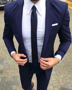 Navy Blue Groomsmen Wedding Suit two Pieces (jacket +pants) - Mens wedding suits - Best Wedding Suits, Blue Suit Wedding, Wedding Men, Wedding Navy, Gothic Wedding, Mens Wedding Suits Navy, Men Wedding Attire, Luxury Wedding, Menswear Wedding